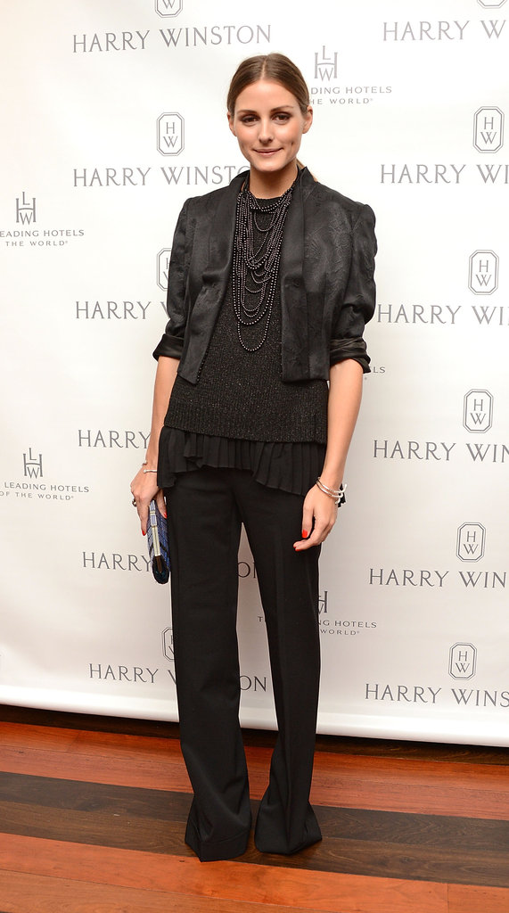 Olivia Palermo worked a chic black-on-black ensemble for a Harry Winston dinner in NYC.