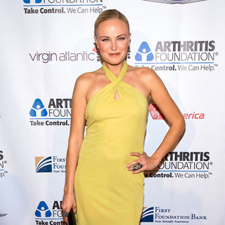 Malin Akerman Wearing Yellow Halter Dress