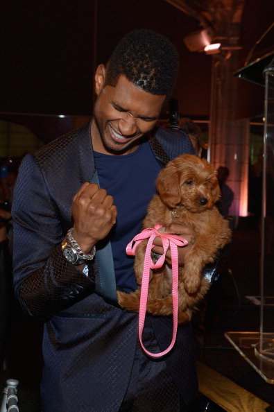 Usher famously bid $12,000 for a Goldendoodle puppy named Poppy at the Pencils of Promise Gala in October 2012 — look how excited he was about his win!