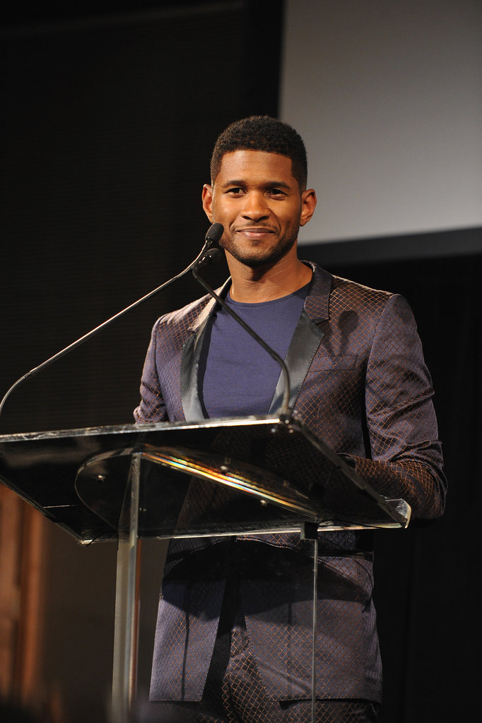 Usher took to the podium on stage.