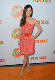 Rachel Bilson stepped out in a brightly hued, one-shoulder Preen dress for the premiere of Fun Size in LA.