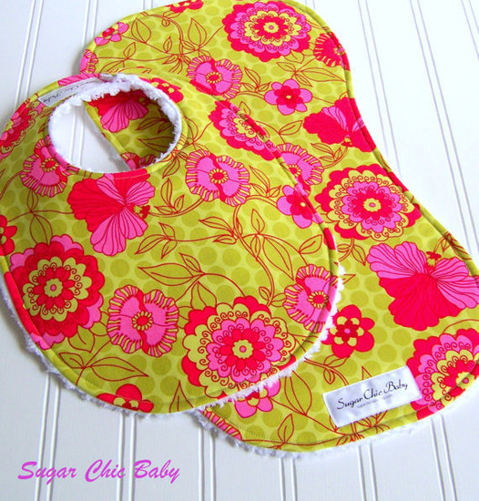Pink, Lime and Green Floral Baby Bib and Burp Cloth by Sugar Chic Baby