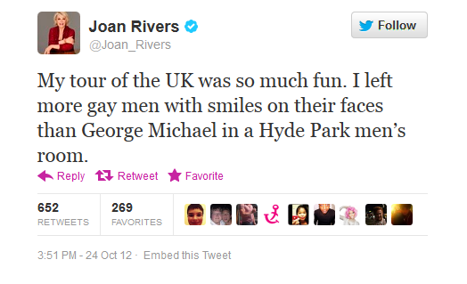 We'll just let your tweet do all the talking here, Joan.