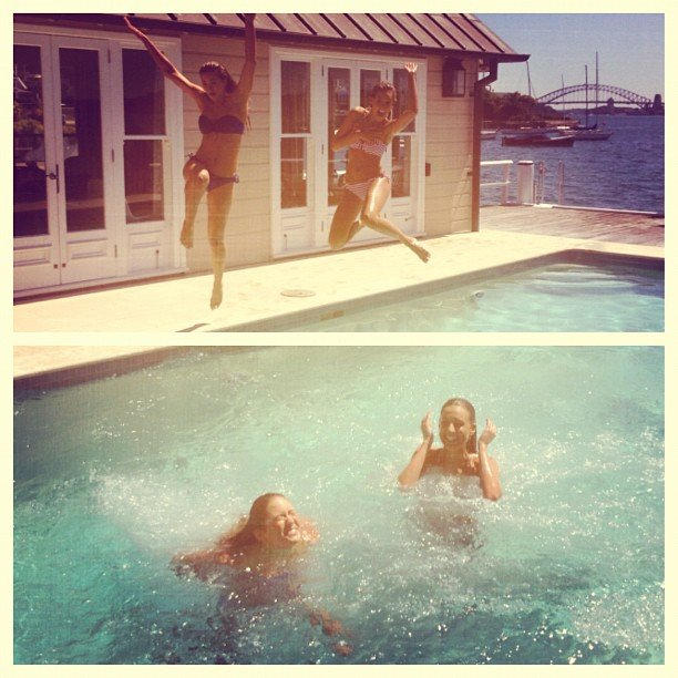 Laura Dundovic and Jesinta Campbell jumped into a pool after a recent bikini-filled magazine shoot. Source: Instagram user lauradundovic