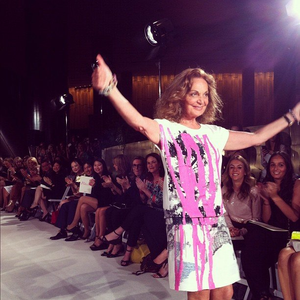 The fabulous Diane von Furstenberg took to the runway after her fashion show in Sydney. Source: Instagram user katewaterhouse7