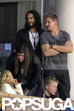 Russell Brand and Gordon Ramsay watched the LA Galaxy play in LA.
