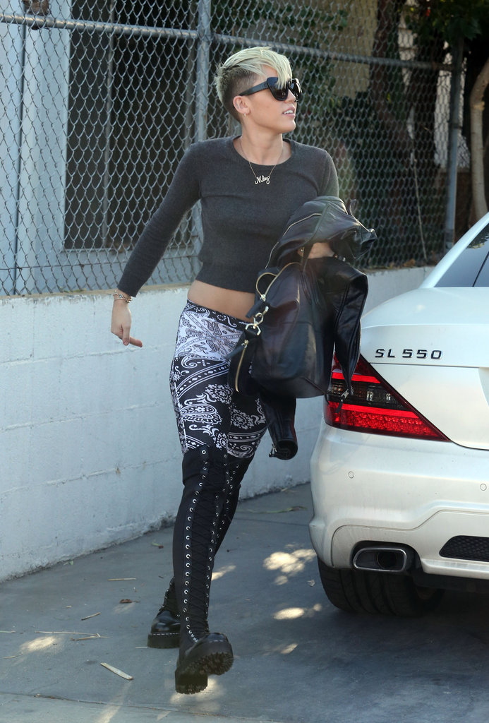 Miley Cyrus made her way into a studio in Burbank.