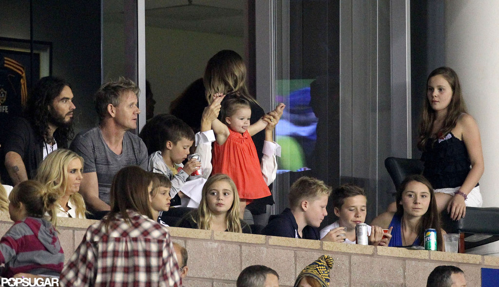 Victoria Beckham and daughter Harper watched the LA Galaxy play in LA.