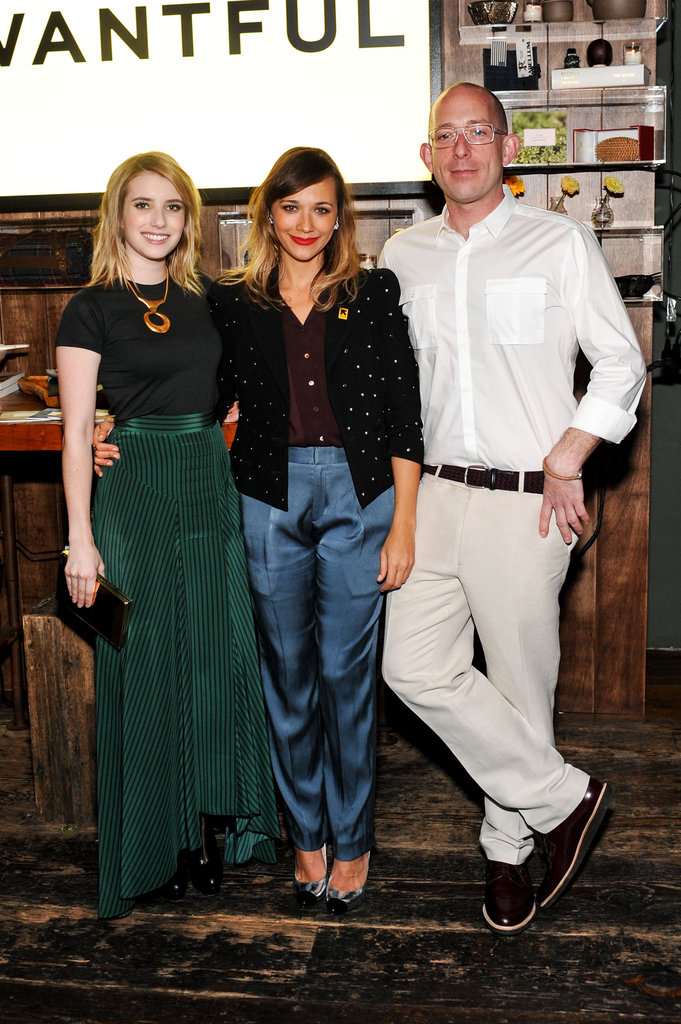 Emma Roberts and Rashida Jones posed with Wantful CEO John Poisson.