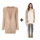 We adore the effect of this textural cardi over a creamy slip dress. We're also pretty partial to those sweet knee socks for added seasonal interest.  Liis Oversize Cardigan ($354) Madewell Something Else by Natalie Wood Mesh Snakes Tank Dress ($238)
