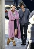 Actress Christa B. Allen and Connor Paolo hung out on the set of Revenge in Marina Del Rey, CA, on Monday.