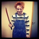 Ed Sheeran looks terrifying as doll psycho killer Chucky. Source: Instagram user teddysphotos