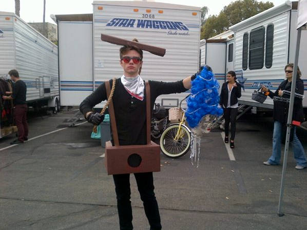 Chris Colfer posted a photo to Twitter and asked for fans to guess his creative costume. Source: Twitter user ChrisColfer