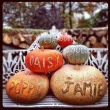 Jamie Oliver shared a snap of pumpkins decorated by the family.  Source: Instagram user jamieoliver