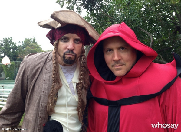 Jon Favreau dipped into his costume trunk and pulled out a red Star Wars cape for Halloween. Source: Jon Favreau on WhoSay