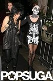 Miley Cyrus's mom, Tish, and sister Brandi arrived at a Halloween party at the Roosevelt Hotel.
