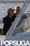Enrique Iglesias and Anna Kournikova cozied up on a boat.