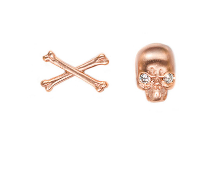 These Social Anarchy skull and crossbones studs ($300) are tough and sweet at the same time.