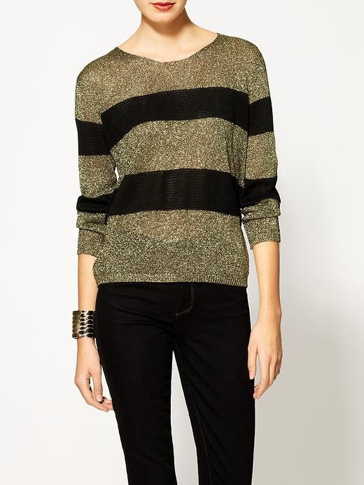 We love the subtle shimmer on this 213 Industry Serafina Metallic Stripe Pullover ($99).