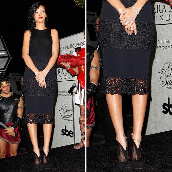 rihanna wearing black lace pencil skirt popsugar fashion