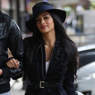 Nicole Scherzinger Wearing Navy Coat