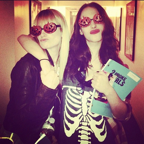 Kat Dennings and Beth Behrs of 2 Broke Girls had to work on Halloween. Source: Instagram user katdenningsss
