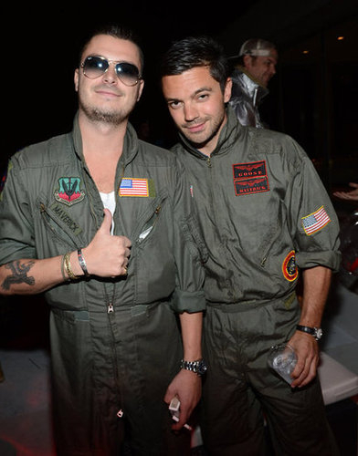 Top Gun Pals Dominic Cooper and a buddy went as Top Gun's Goose and Maverick.