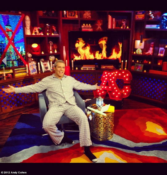 "Andy Cohen hosted a ""hurricane party"" in his PJs. Source: Andy Cohen on WhoSay"