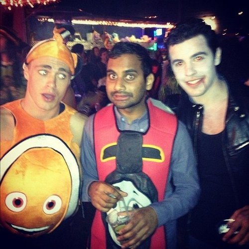 Nemo and Thomas the Tank Colton Haynes dressed as Nemo and posed with Aziz Ansari, who was Thomas the Tank. Source: Instagram user coltonlhaynes