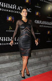 Halle Berry wore a sheer dress despite the chilly temperatures.