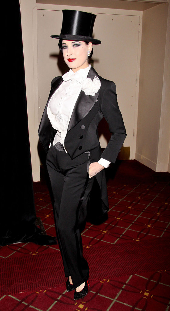 Dita Von Teese wore a tophat for the NYRP Halloween Benefit Gala in NYC Wednesday.