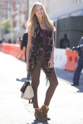 A touch of camo went a long way on this laid-back styler's look. As for the rest, she kept it cool and neutral, with just a splash of color. Source: Adam Katz Sinding