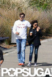 Ashton Kutcher walked with Mila Kunis in Sydney.