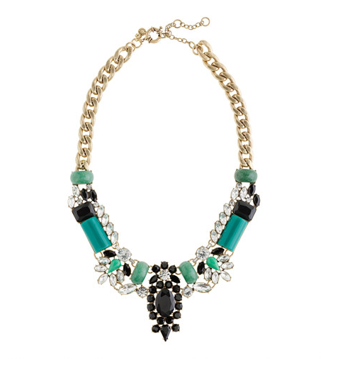 The emerald and black hues make this J.Crew Crystal-Encrusted Collar Necklace ($150) an even more dramatic statement piece.