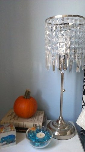 Pumpkin Nightstand and Velvet Headboard