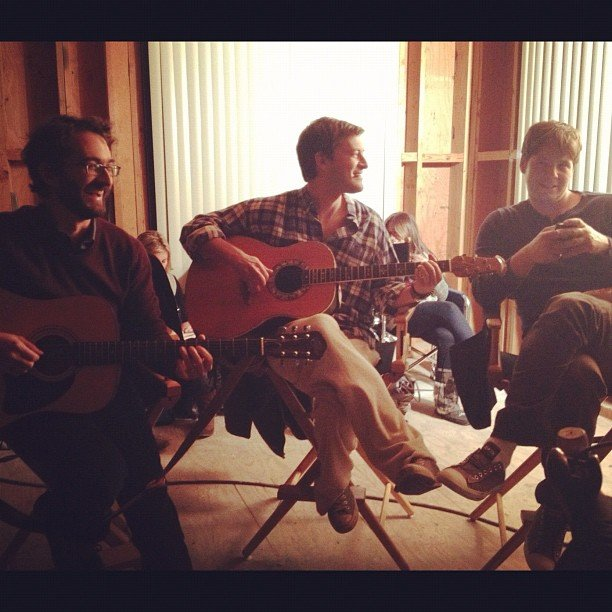 Mindy Kaling took a photo of a jam session with Mark Duplass and her The Mindy Project costar Ike Barinholtz. Source: Instagram user mindykaling