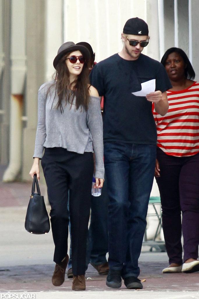 Elizabeth Olsen took a stroll with Boyd Holbrook.