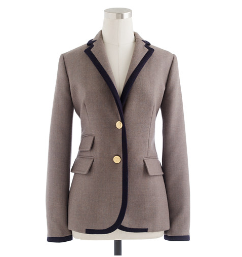 J.Crew Tipped Hacking Jacket in Double-Serge Wool