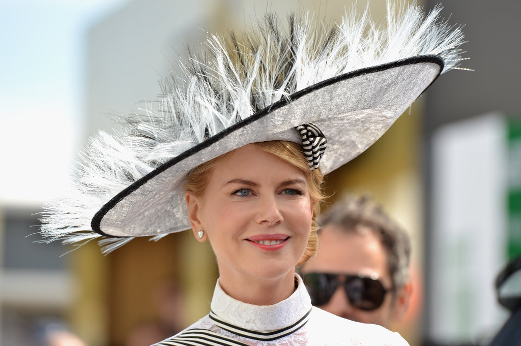 Nicole Kidman wore a black and white hat.