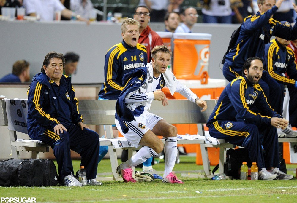 David Beckham sat on the bench at his LA Galaxy game.