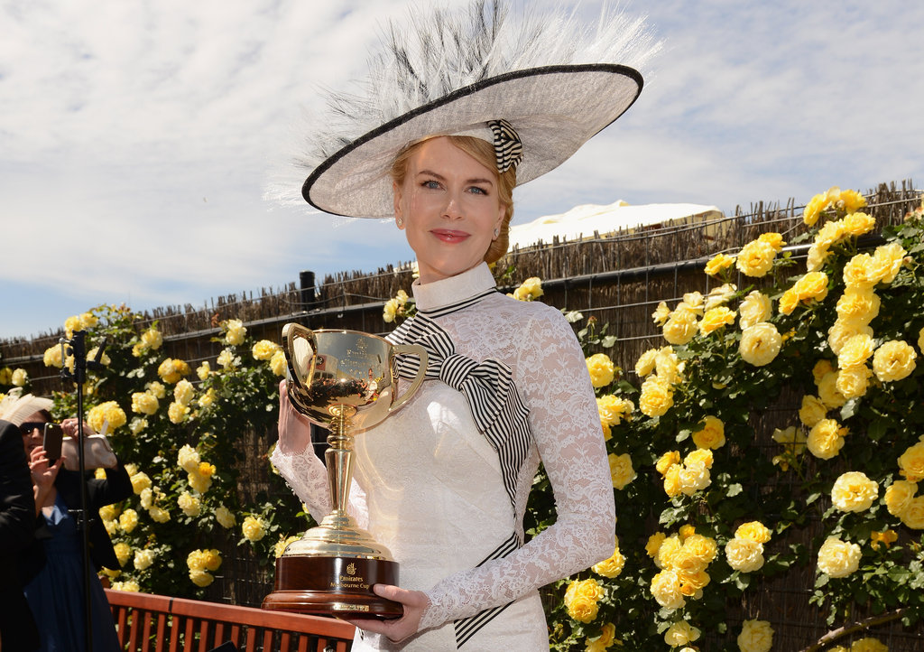Nicole Kidman posed for a photo with the Derby Day trophy.