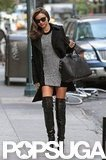 Miranda Kerr wore thigh-high boots while walking in NYC.