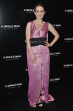 Never one to rule out a red-carpet risk, Julianne Moore took on glittery pink and an oversize dress silhouette for her appearance at the A Single Man Paris premiere in 2010.
