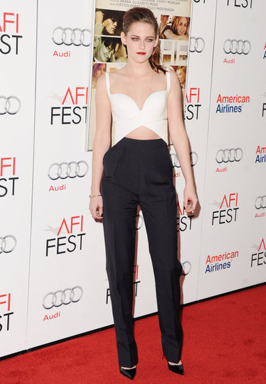 Kristen Stewart showed off a bold black and white look for her On the Road premiere.