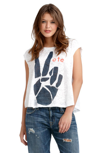 A literal print, like this Rachel Roy Vote tee ($39) is just the thing to put a quirkier spin on your Election Day style.