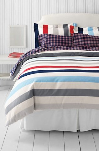 Lands&#039; End Flannel Stripe Duvet Cover