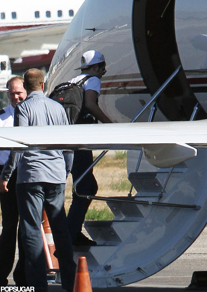 Robert Pattinson boarded a private plane in LA.