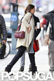 Katie Holmes carried a purse over her shoulder in NYC.
