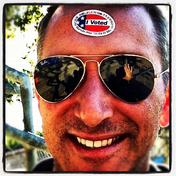 Adam Shankman wore his sticker on his forehead to prove he voted. Source: Instagram user adamshankman