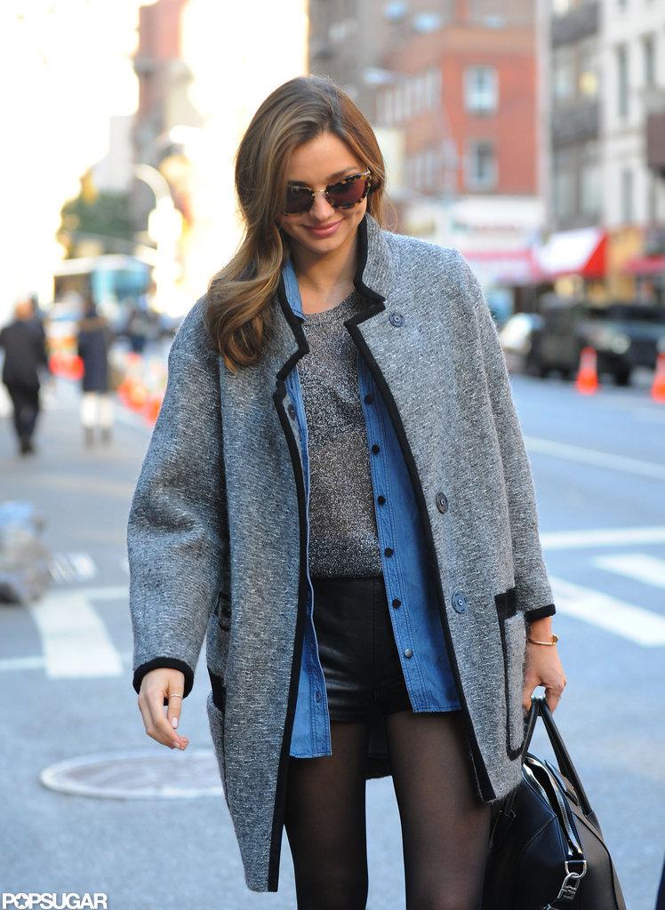 Miranda Kerr wore an Isabel Marant coat while heading to Victoria's Secret Fashion Show rehearsals.